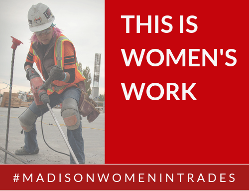 Woman with pink hair working on construction site. This is Women's work. #madisonwomenintrades